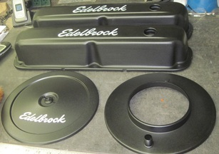 New Mopar Edelbrock stamped valve covers and air cleaner assembly