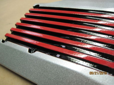 Custom one-off Jeep plenum in Alien Silver, Flag Red and Ink Black